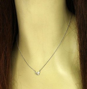 Other 14k White Gold .95ct Butterfly Cut Diamond Solitaire Necklace