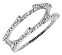 14k White Gold Chevron Diamond Ring Guard Jacket Enhancer Wedding Band 0.50ct.