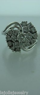 Other 14k White Gold Diamond Cluster Ladies Ring