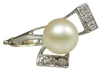 14k White Gold Diamond Pearl Stone Ladies Ring