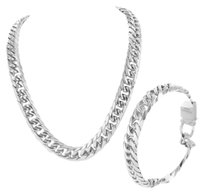 14k White Gold Finish Over Stainless Steel Mens Miami Cuban Chain Bracelet