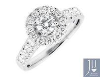 14k White Gold Halo .40ct Solitaire Genuine Diamond Engagement Wedding Ring 1ctw