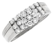 Other 14k White Gold Ladies Flower Cluster Channel Set Bridal Wedding Ring Set .50ct