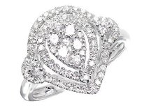 14k White Gold Pear Shape Halo Round Diamond Wedding Engagement Ring 1 Ct