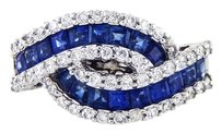 14k White Gold Princess Sapphires Diamond Ring
