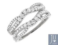 14k White Gold Solitaire Diamond Engagement Ring Enhancer Jacket Prong Set 1 Ct