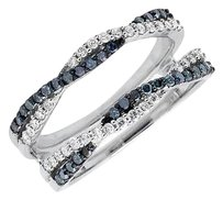 14k White Gold Twisted Blue And White Diamonds Enhancer Wrap Guard Ring 0.55ct.