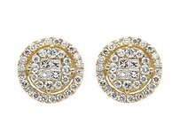 14k Yellow Gold 11mm Halo Princess Invisible Quad Diamond Stud Earring 1.50ct