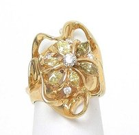 14k Yellow Gold 1ctw Fancy Yellow White Diamond Ladies Floral Design Ring