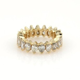 14k Yellow Gold 4ct Marquise Cut Diamond Eternity Band Ring