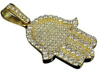 14k Yellow Gold Ancient Hamsa Hand Evil Eye Pave Vs Diamond Pendant Charm 4.9ct