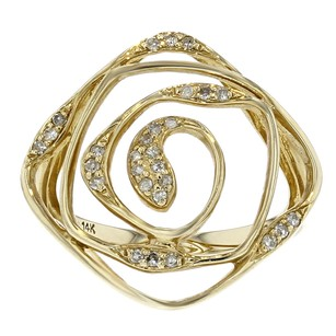 14k Yellow Gold and Diamond Swirl Ring Size 7