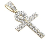 14k Yellow Gold Ankh Cross Two Row Genuine Real Diamond Pendant Charm 0.90ct