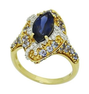 14k Yellow Gold Approx. Cts Tcw Marquise Amethyst Diamond Ring 7g R641