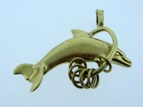 14k Yellow Gold Dolphin Pendant Charm Necklace