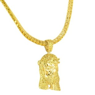 14k Yellow Gold Finish Canary Lab Diamond Jesus Head 3d Pendant Custom Chain