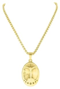 14k Yellow Gold Finish Jesus Cross Coin Pendant Pendant Charm In Stainless Steel