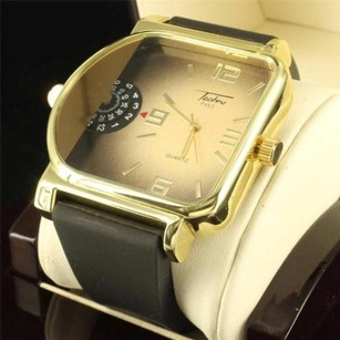 14k Yellow Gold Finish Metallic Style Mens Custom Techno Silicon Band Watch Sale