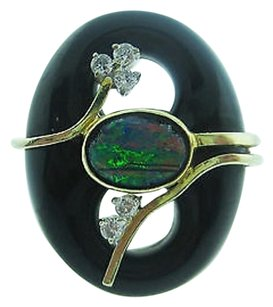 14k Yellow Gold Fire Opal Stone Onyx Diamonds Ladies Ring 6.75