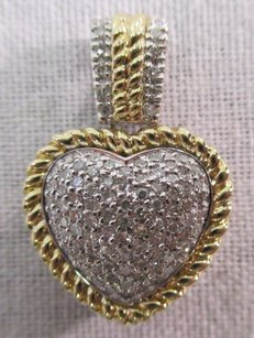 14k Yellow Gold Heart Pendant W 1.00 Carat In Center Bezel
