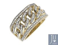 Other 14k Yellow Gold Miami Cuban Link Style Genuine Diamond Pinkyt Ring 1.0ct