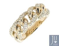 14k Yellow Gold Miami Cuban Link Style Genuine Vs Diamond Statement Ring 1.25ct.