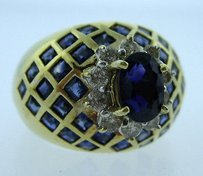 14k Yellow Gold Sapphire Diamond Ladies Ring