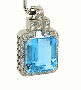 14kt White Gold 26.25ctw Octagon Shape Blue Topaz Diamond Pendant