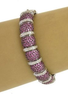 14kt White Gold 8.75ctw Diamond Pink Sapphire Braceletbangle