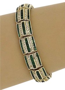 Other 14kt Yellow Gold 21ctw Diamond Tsavorite Semi Curve Link Bracelet