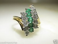 14kt Yellow Gold Columbian Emerald Diamond Cocktail Cluster Dome Ring 1.30cts