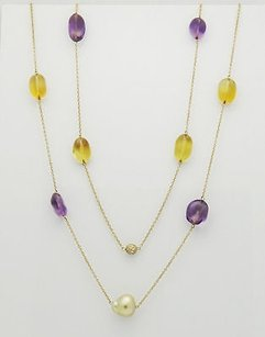 Other 1.50 Carats Tcw Diamond Amethyst Citrine Pearl 18k Yellow Gold 44 Necklace N61
