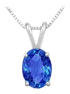LoveBrightJewelry Created Sapphire Solitaire Pendant 925 Sterling Silver 1.00 CT TGW
