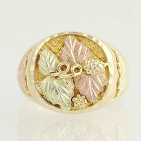Landstroms Black Hills Gold Floral Leaf Ring 10k Gold Mens Tri-toned