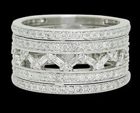 18k Gold 1.42 Tcw Si1 G Diamond Openwork Band Row Eternity Ring 10.3g R697