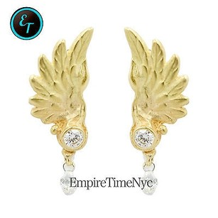 Other 18k Gold Angel Wings Stud Earring Drop Down 0.56ct Diamond Women