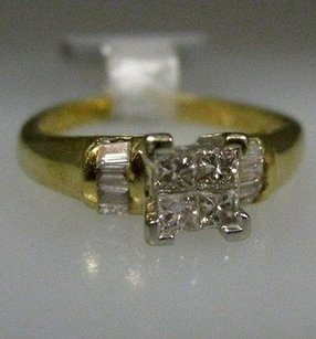 Other 18k Multi Tone Gold Princess Baguette Diamonds Ladies Ring