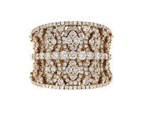 Other 18k Rose Gold and Diamond Wide Band Ring Size 7