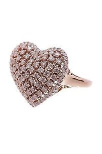 18k Rose Gold Diamond Heart Ring Size 8.5