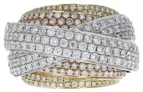 18k Tri Tone Gold and 3.26ct Diamond Cocktail Ring