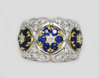 18k White And Yellow Gold 0.50tcw Diamond 0.80tcw Sapphire Ring R113