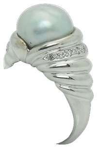 18k White Gold 10mm Pearl And 0.20 Carat Tcw F Vs1 Diamond Ring R531