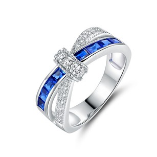 Other 18K White Gold 3CTTW Plated Blue and White CZ Crisscross Ring