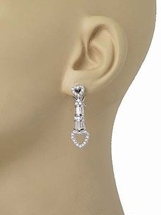 18k White Gold 3ctw Vs1 Diamond Heart Design Drop Dangle Omega Back Earrings