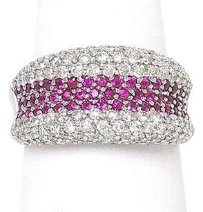 18k White Gold 4.70ctw Diamond Ruby Concave Design Band Ring