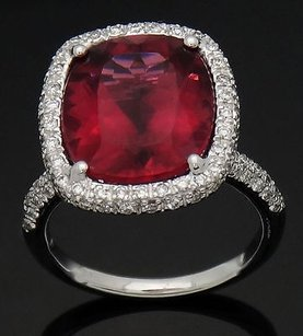 18k White Gold Carats Tcw Vs G Diamond Tourmaline Ring 6.75 R359