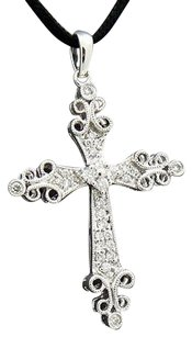 18k White Gold Diamond Cross Pendant N134