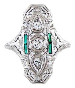 Other 18k White Gold Emeralds Diamond Ring