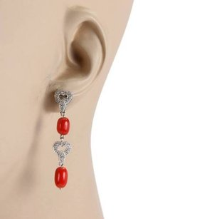 Other 18k White Gold Pave Diamonds Coral Heart Design Drop Dangle Earrings