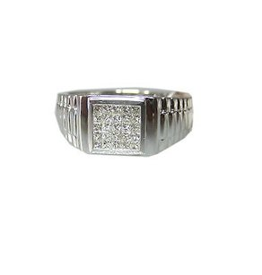 18k White Gold Princess Cut Invisible Diamonds Ladies Ring